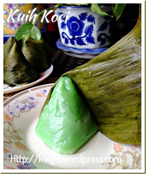 Koci, Goci, Kochi, Mendut, Lapek Bugis? I Am Confused–Pandan Kuih Koci (锥形香兰椰丝糯米滋)