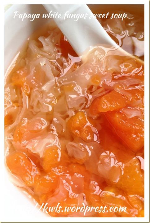 Snow Fungus Papaya Sweet Soup (木瓜银耳炖冰糖)